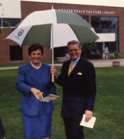noreen and husband michael falcone at the re-dedication of the library in 1998